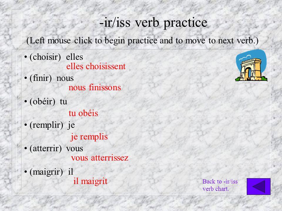 -ir/iss verb practice (choisir) elles elles choisissent (finir) nous nous finissons (obéir) tu tu obéis (remplir) je je remplis (atterrir) vous vous atterrissez (maigrir) il il maigrit (Left mouse click to begin practice and to move to next verb.) Back to -ir/iss verb chart.