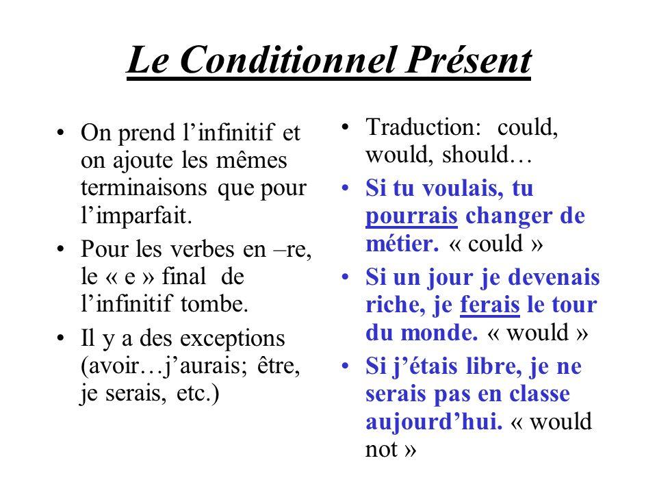 Le Conditionnel Présent On prend linfinitif et on ajoute les mêmes terminaisons que pour limparfait. Pour les verbes en –re, le « e » final de linfini