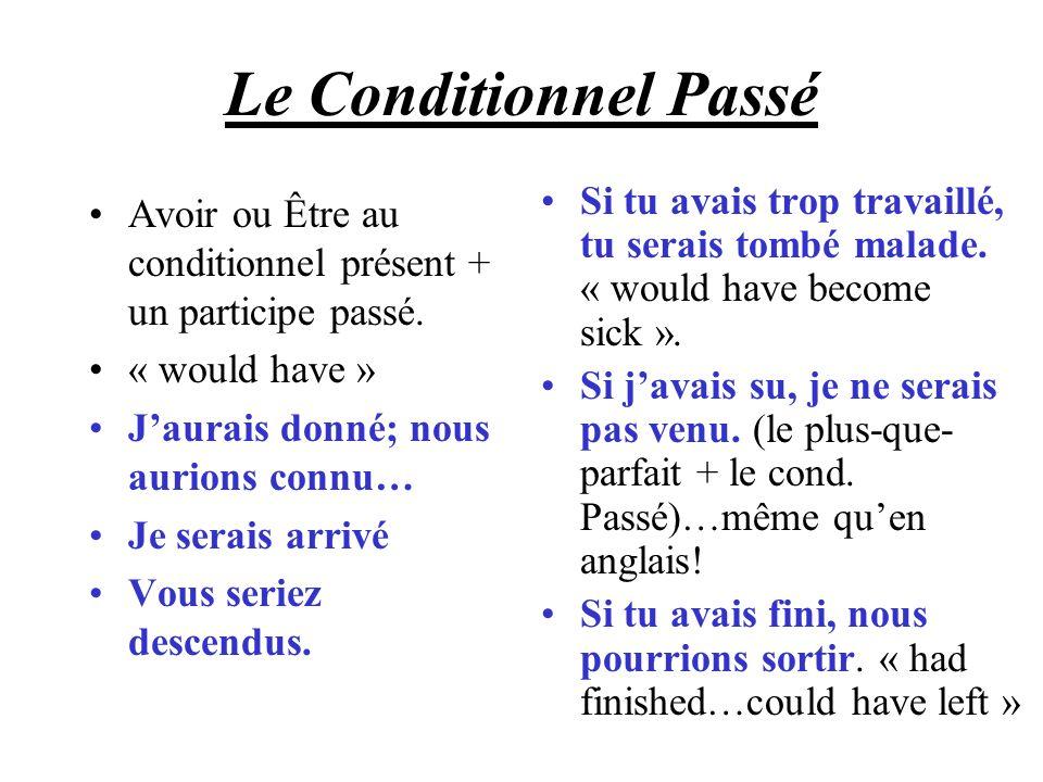 Le Conditionnel Passé Avoir ou Être au conditionnel présent + un participe passé. « would have » Jaurais donné; nous aurions connu… Je serais arrivé V