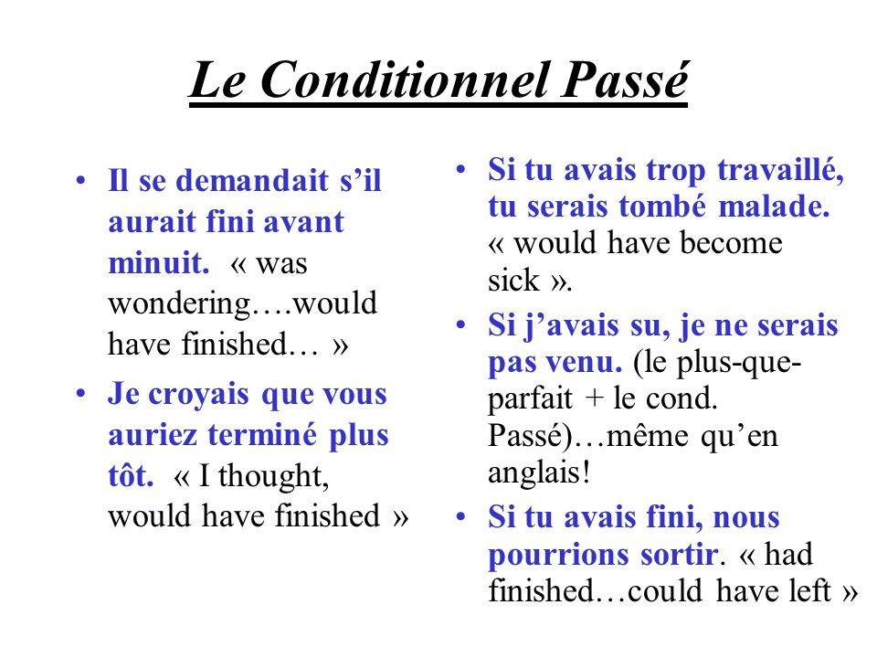 Le Conditionnel Passé Il se demandait sil aurait fini avant minuit. « was wondering….would have finished… » Je croyais que vous auriez terminé plus tô