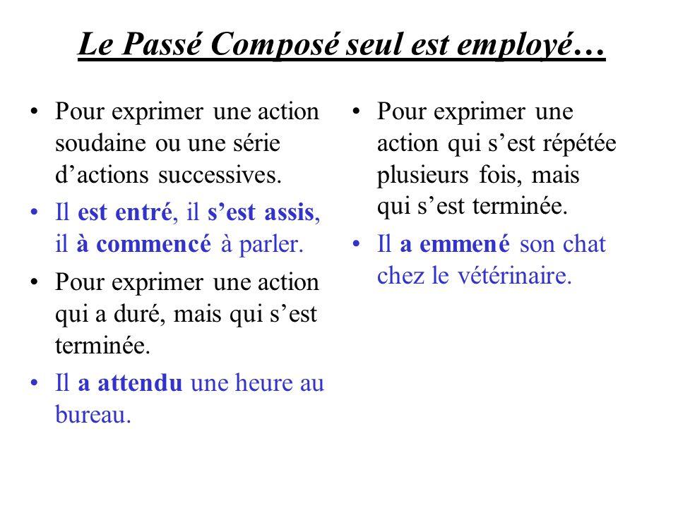 Le Passé Composé seul est employé… Pour exprimer une action soudaine ou une série dactions successives.