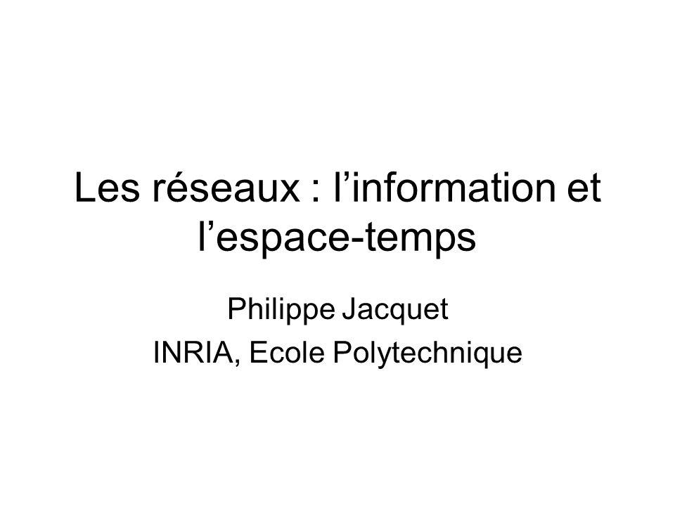 Les réseaux : linformation et lespace-temps Philippe Jacquet INRIA, Ecole Polytechnique