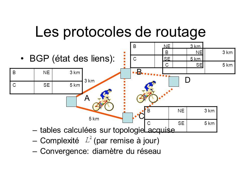 Les protocoles de routage BGP (état des liens): –tables calculées sur topologie acquise –Complexité (par remise à jour) –Convergence: diamètre du rése