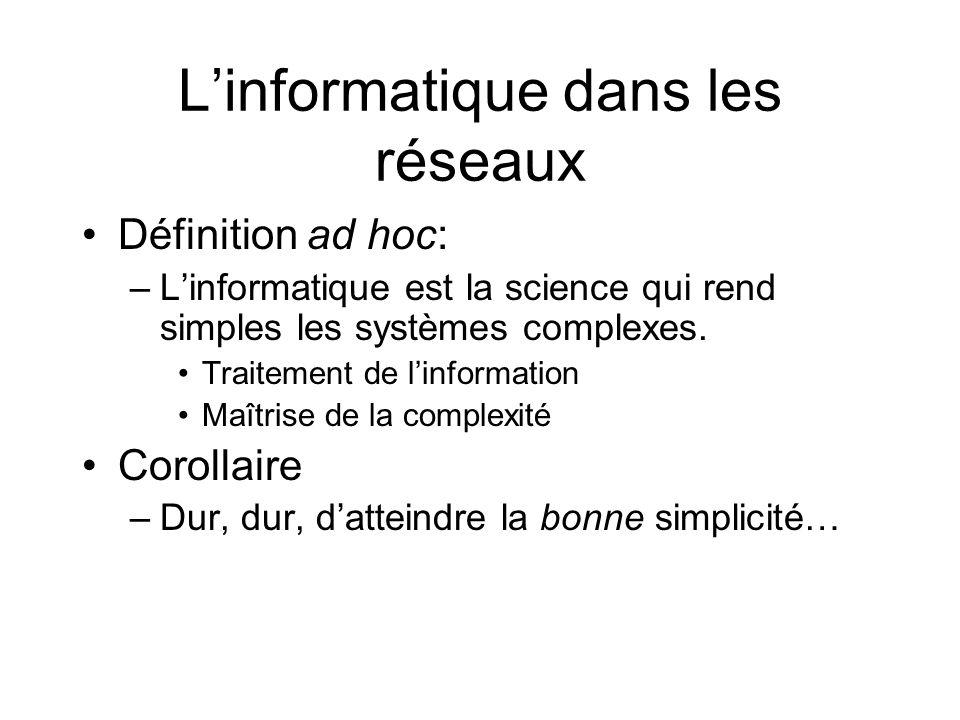 Linformatique dans les réseaux Définition ad hoc: –Linformatique est la science qui rend simples les systèmes complexes. Traitement de linformation Ma