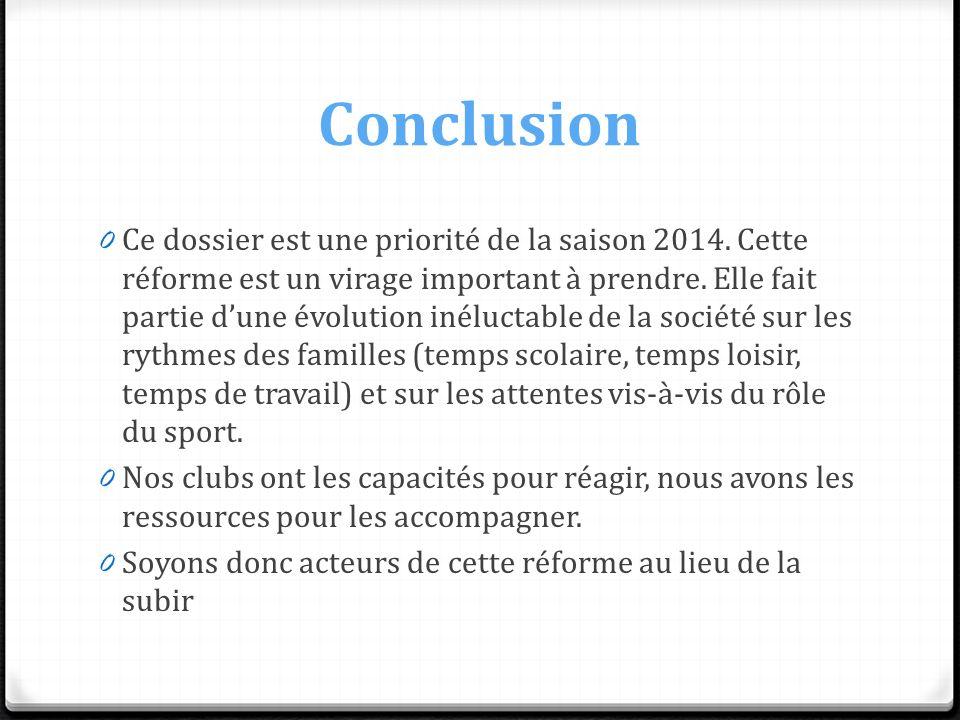 Conclusion 0 Ce dossier est une priorité de la saison 2014. Cette réforme est un virage important à prendre. Elle fait partie dune évolution inéluctab