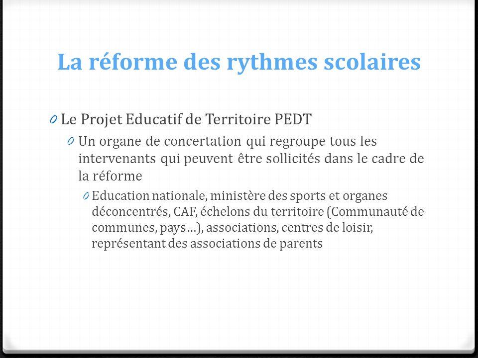 La réforme des rythmes scolaires 0 Le Projet Educatif de Territoire PEDT 0 Un organe de concertation qui regroupe tous les intervenants qui peuvent êt
