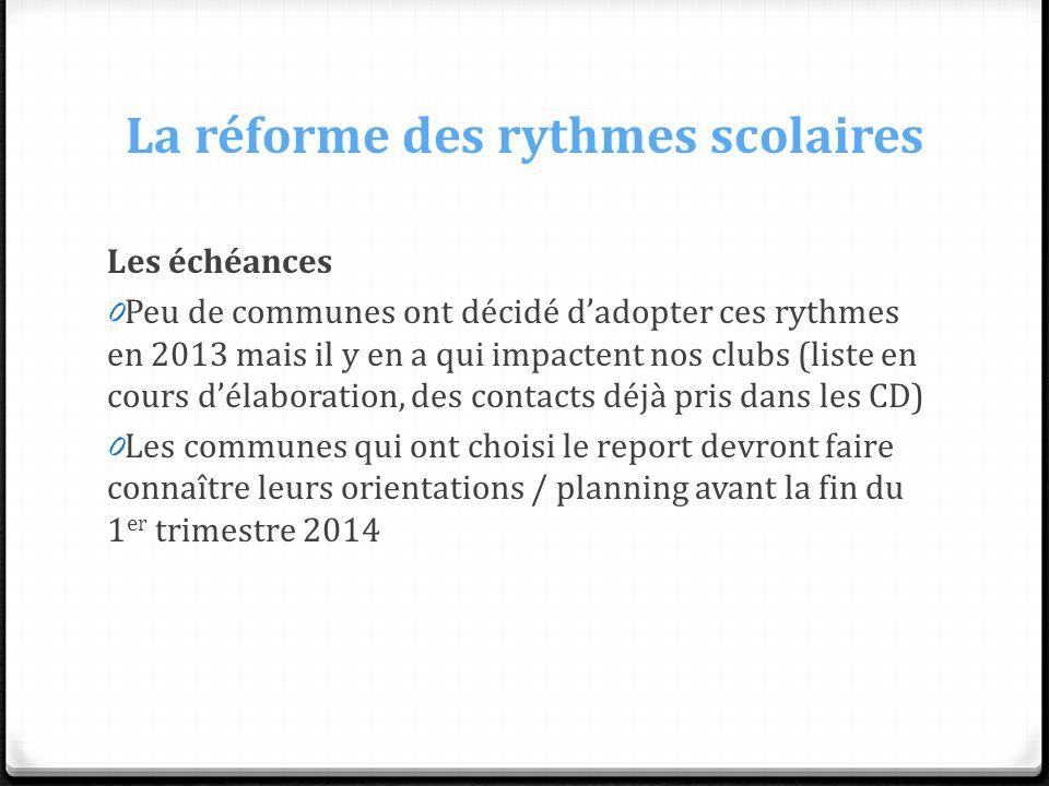 La réforme des rythmes scolaires Les échéances 0 Peu de communes ont décidé dadopter ces rythmes en 2013 mais il y en a qui impactent nos clubs (liste