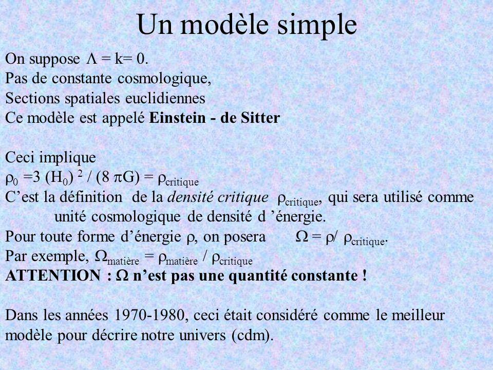 Un modèle simple On suppose = k= 0. Pas de constante cosmologique, Sections spatiales euclidiennes Ce modèle est appelé Einstein - de Sitter Ceci impl