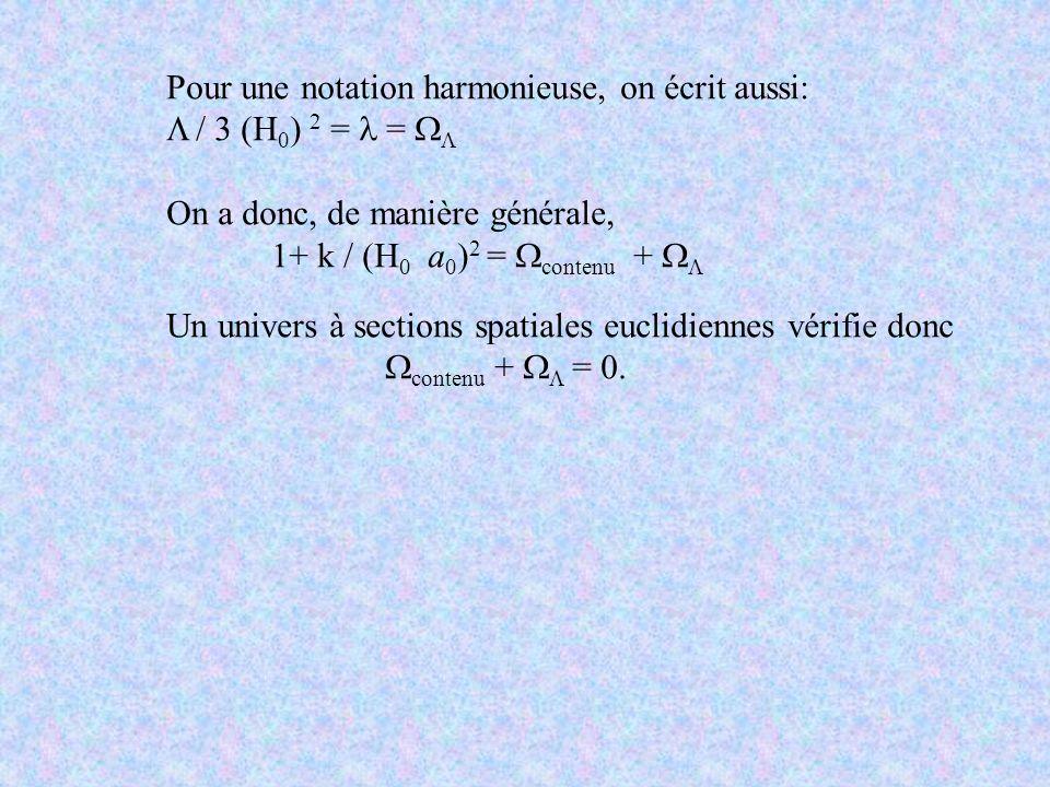 Pour une notation harmonieuse, on écrit aussi: / 3 (H 0 ) 2 = = On a donc, de manière générale, 1+ k / (H 0 a 0 ) 2 = contenu + Un univers à sections