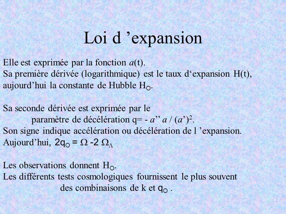 Loi d expansion Elle est exprimée par la fonction a(t). Sa première dérivée (logarithmique) est le taux dexpansion H(t), aujourdhui la constante de Hu