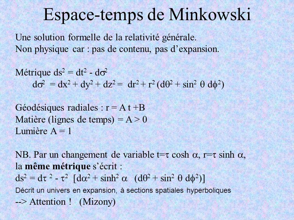 Espace-temps de Minkowski Une solution formelle de la relativité générale. Non physique car : pas de contenu, pas dexpansion. Métrique ds 2 = dt 2 - d