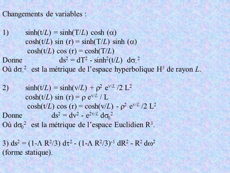 Changements de variables : 1) sinh(t/L) = sinh(T/L) cosh ( ) cosh(t/L) sin (r) = sinh(T/L) sinh ( ) cosh(t/L) cos (r) = cosh(T/L) Donne ds 2 = dT 2 -