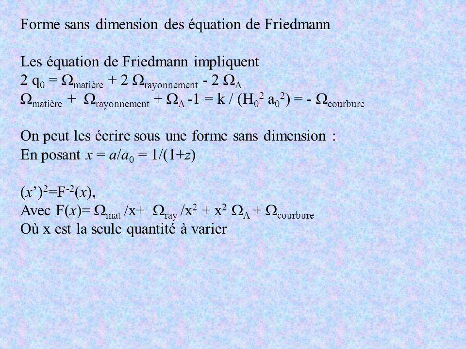 Forme sans dimension des équation de Friedmann Les équation de Friedmann impliquent 2 q 0 = matière + 2 rayonnement - 2 matière + rayonnement + -1 = k