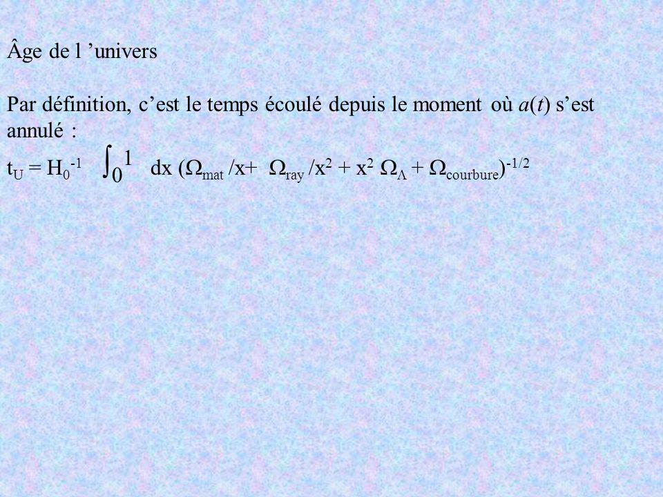 Âge de l univers Par définition, cest le temps écoulé depuis le moment où a(t) sest annulé : t U = H 0 -1 0 1 dx ( mat /x+ ray /x 2 + x 2 + courbure )