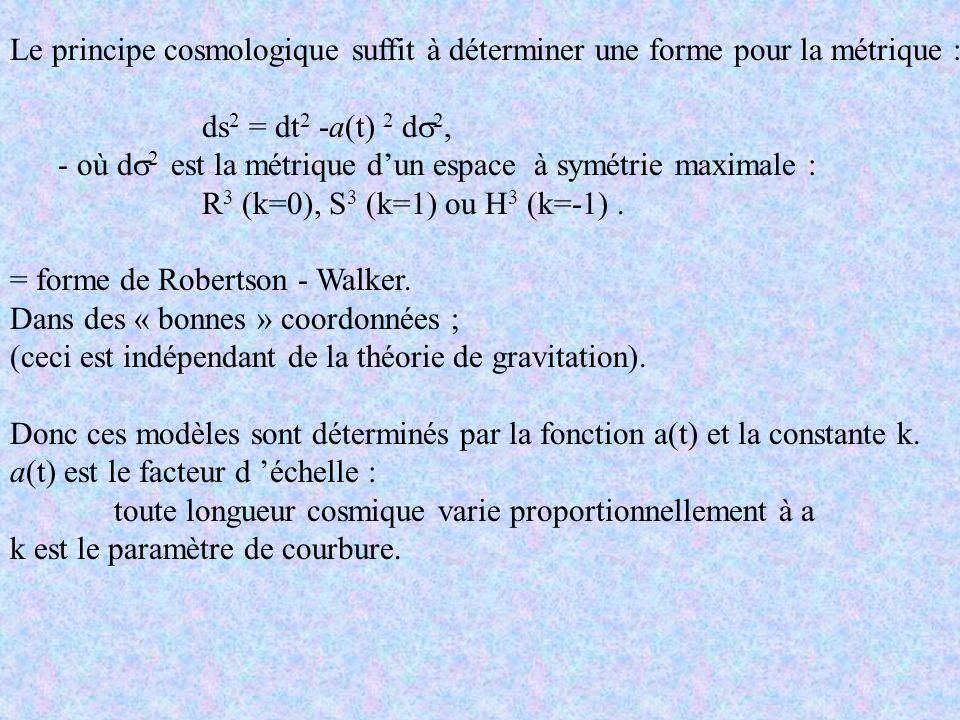 Le principe cosmologique suffit à déterminer une forme pour la métrique : ds 2 = dt 2 -a(t) 2 d 2, - où d 2 est la métrique dun espace à symétrie maxi