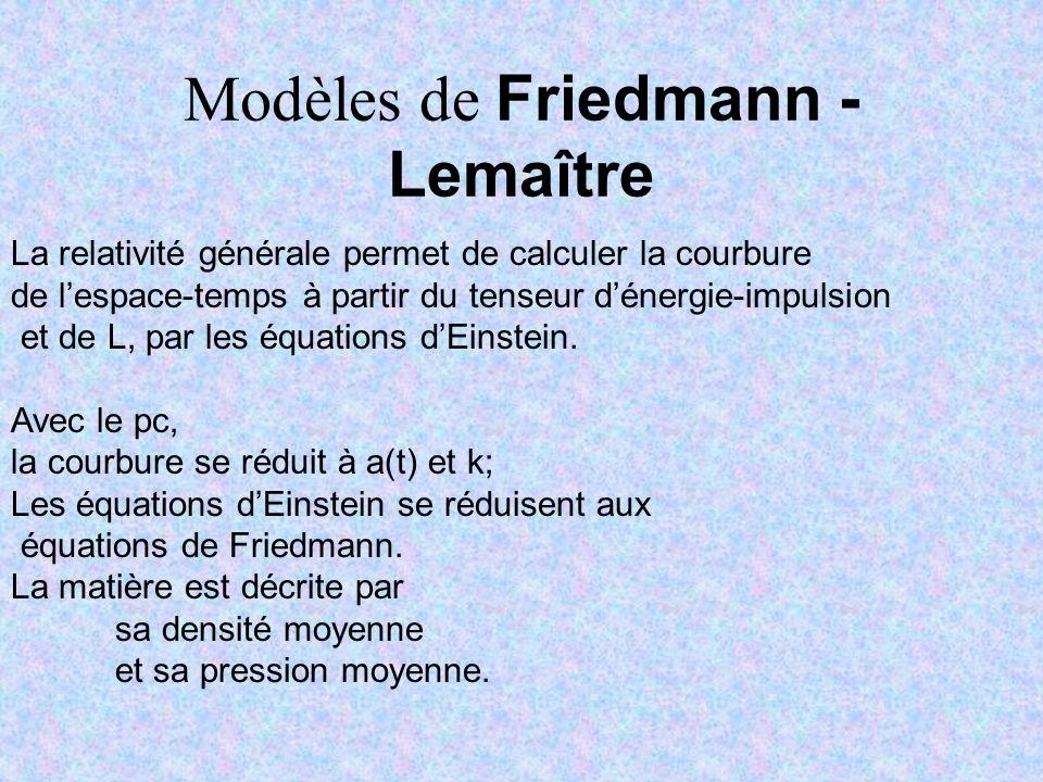 Modèles de Friedmann - Lemaître La relativité générale permet de calculer la courbure de lespace-temps à partir du tenseur dénergie-impulsion et de L,