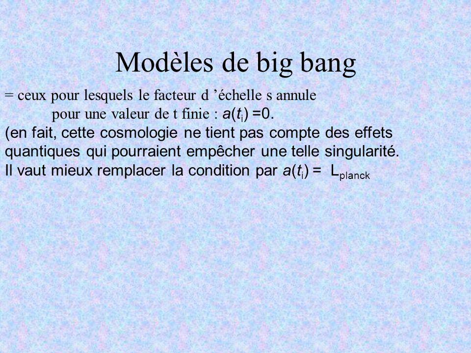 Modèles de big bang = ceux pour lesquels le facteur d échelle s annule pour une valeur de t finie : a(t i ) =0. (en fait, cette cosmologie ne tient pa