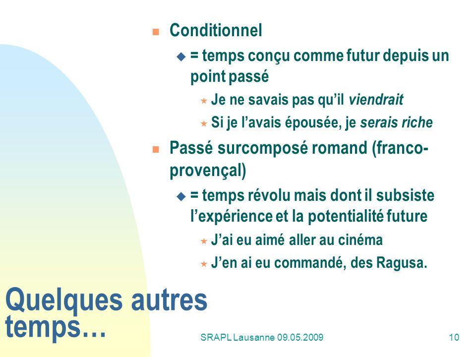 SRAPL Lausanne 09.05.200910 Quelques autres temps… Conditionnel = temps conçu comme futur depuis un point passé Je ne savais pas quil viendrait Si je