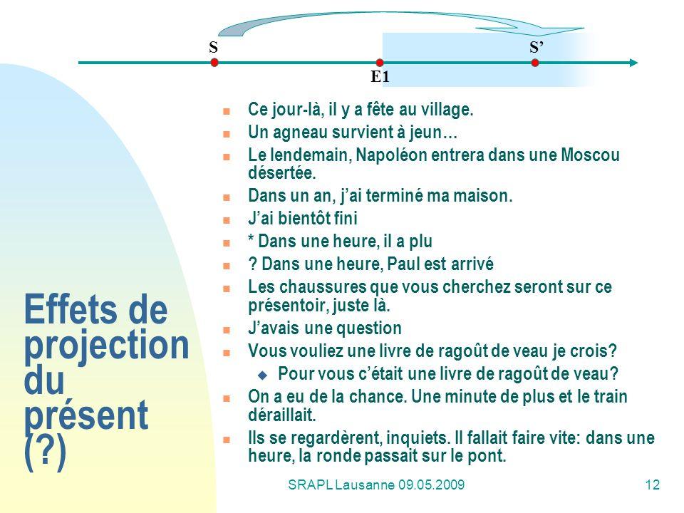 SRAPL Lausanne 09.05.200912 Effets de projection du présent (?) Ce jour-là, il y a fête au village. Un agneau survient à jeun… Le lendemain, Napoléon