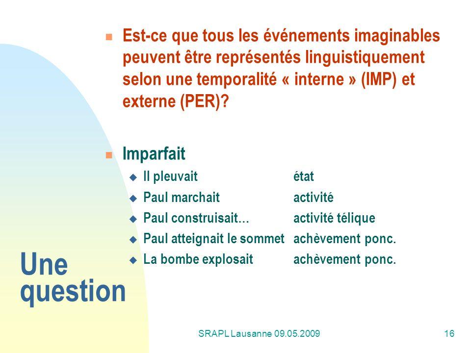 SRAPL Lausanne 09.05.200916 Une question Est-ce que tous les événements imaginables peuvent être représentés linguistiquement selon une temporalité «