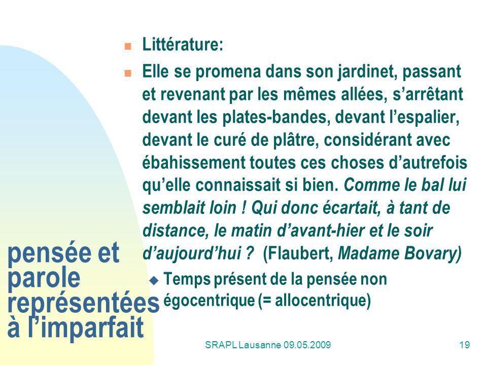 SRAPL Lausanne 09.05.200919 pensée et parole représentées à limparfait Littérature: Elle se promena dans son jardinet, passant et revenant par les mêm