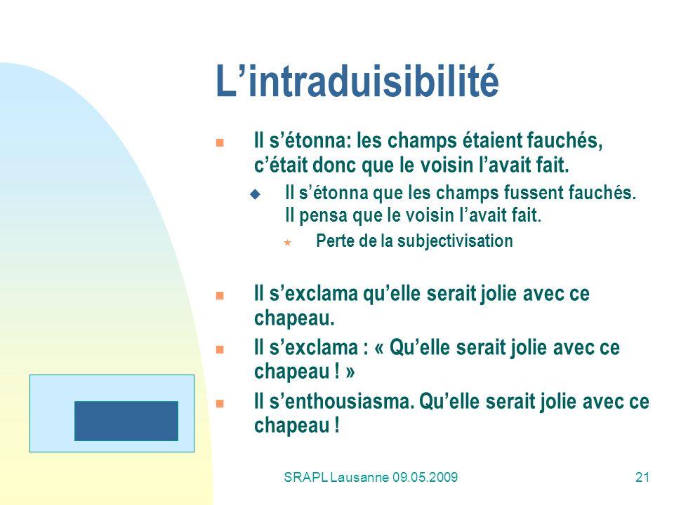 SRAPL Lausanne 09.05.200921 Lintraduisibilité Il sétonna: les champs étaient fauchés, cétait donc que le voisin lavait fait. Il sétonna que les champs