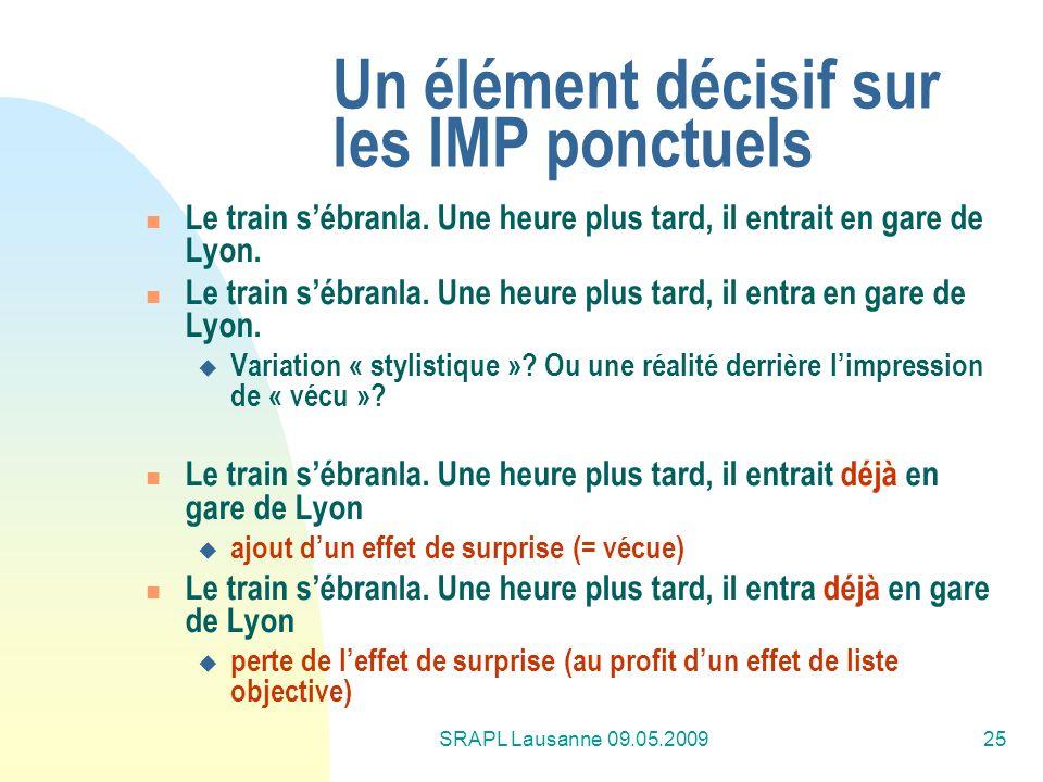 SRAPL Lausanne 09.05.200925 Un élément décisif sur les IMP ponctuels Le train sébranla. Une heure plus tard, il entrait en gare de Lyon. Le train sébr