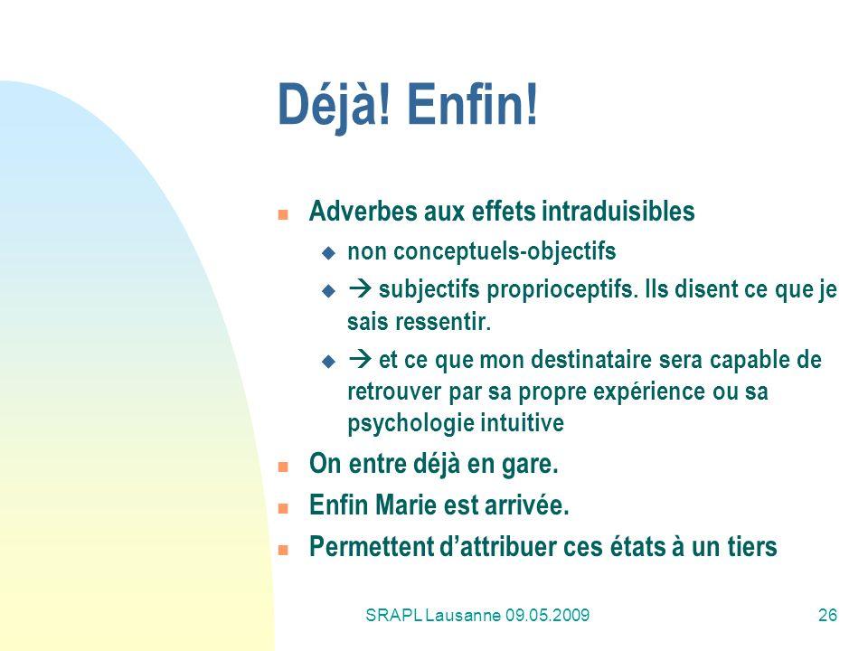 SRAPL Lausanne 09.05.200926 Déjà! Enfin! Adverbes aux effets intraduisibles non conceptuels-objectifs subjectifs proprioceptifs. Ils disent ce que je