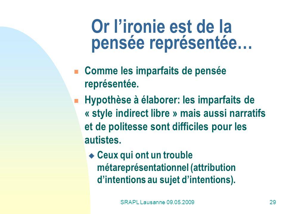 SRAPL Lausanne 09.05.200929 Or lironie est de la pensée représentée… Comme les imparfaits de pensée représentée. Hypothèse à élaborer: les imparfaits