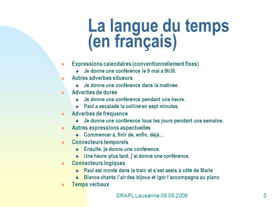 SRAPL Lausanne 09.05.20093 La langue du temps (en français) Expressions calendaires (conventionnellement fixes) Je donne une conférence le 9 mai à 9h3
