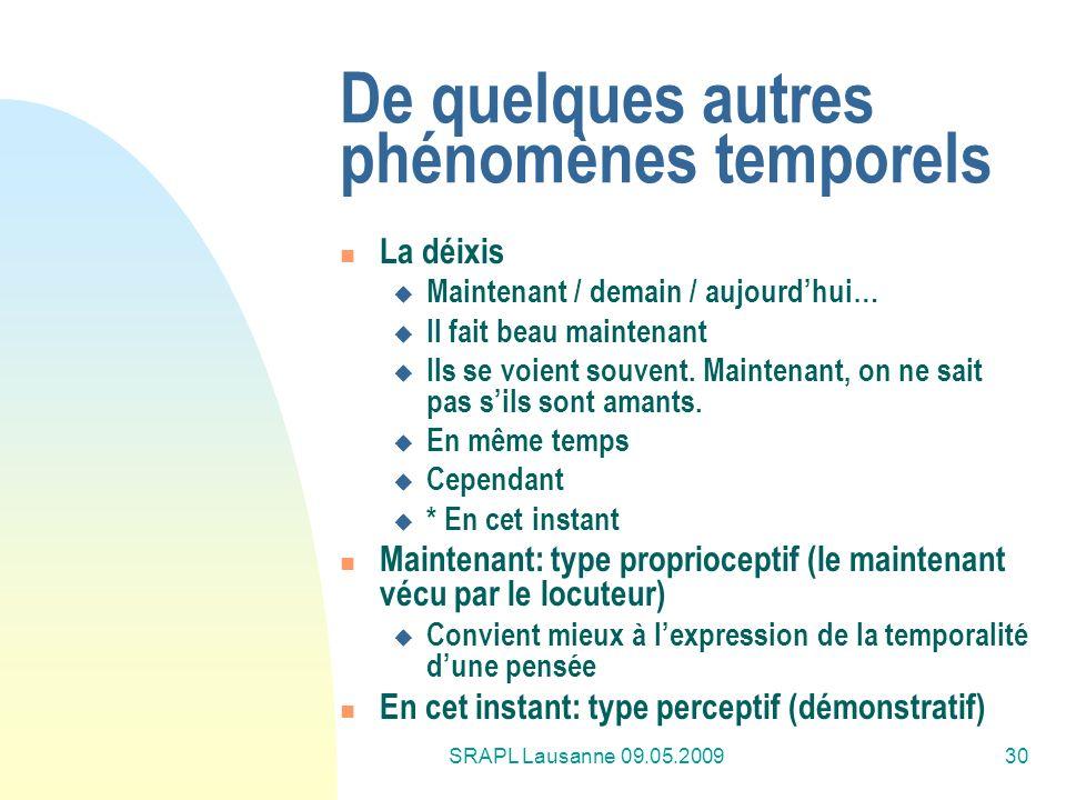 SRAPL Lausanne 09.05.200930 De quelques autres phénomènes temporels La déixis Maintenant / demain / aujourdhui… Il fait beau maintenant Ils se voient