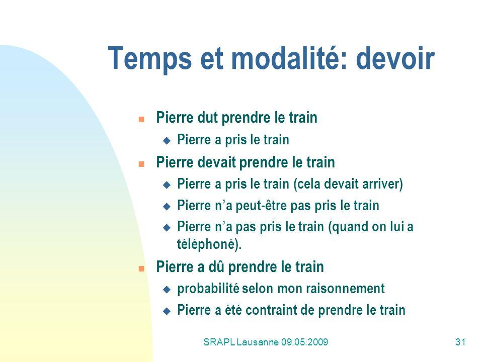 SRAPL Lausanne 09.05.200931 Temps et modalité: devoir Pierre dut prendre le train Pierre a pris le train Pierre devait prendre le train Pierre a pris