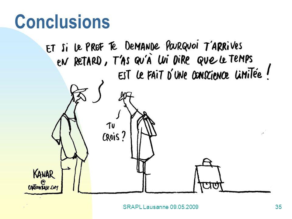 SRAPL Lausanne 09.05.200935 Conclusions