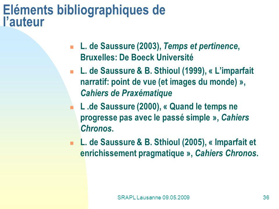 SRAPL Lausanne 09.05.200936 Eléments bibliographiques de lauteur L. de Saussure (2003), Temps et pertinence, Bruxelles: De Boeck Université L. de Saus
