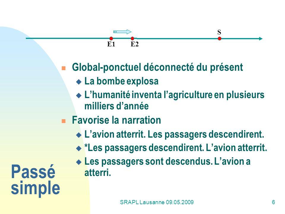 SRAPL Lausanne 09.05.20096 Passé simple Global-ponctuel déconnecté du présent La bombe explosa Lhumanité inventa lagriculture en plusieurs milliers da