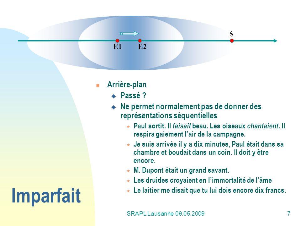SRAPL Lausanne 09.05.20097 Imparfait Arrière-plan Passé ? Ne permet normalement pas de donner des représentations séquentielles Paul sortit. Il faisai