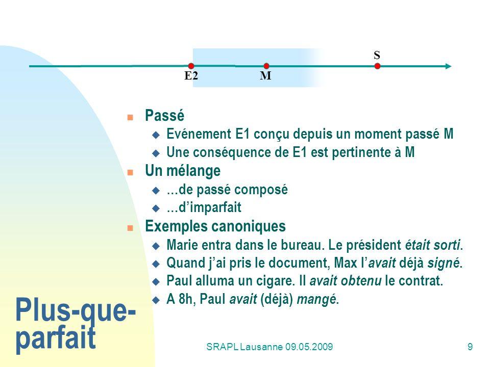 SRAPL Lausanne 09.05.20099 Plus-que- parfait Passé Evénement E1 conçu depuis un moment passé M Une conséquence de E1 est pertinente à M Un mélange …de