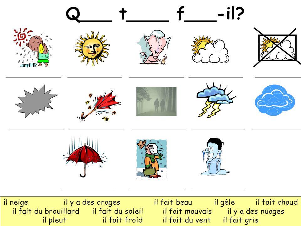 Q___ t____ f___-il? il neigeil y a des orages il fait beau il gèle il fait chaud il fait du brouillard il fait du soleil il fait mauvais il y a des nu