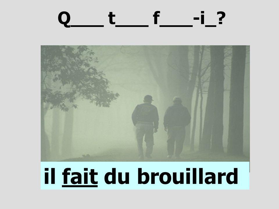 Q___ t___ f___-i_? il fait du brouillard