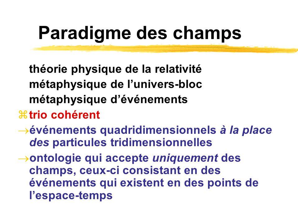 Paradigme des champs théorie physique de la relativité métaphysique de lunivers-bloc métaphysique dévénements trio cohérent événements quadridimension