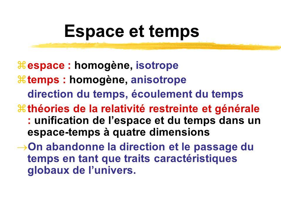 Espace et temps espace : homogène, isotrope temps : homogène, anisotrope direction du temps, écoulement du temps théories de la relativité restreinte
