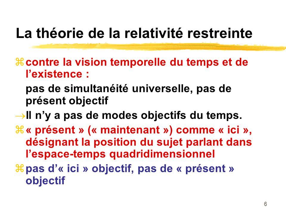 6 La théorie de la relativité restreinte contre la vision temporelle du temps et de lexistence : pas de simultanéité universelle, pas de présent objec
