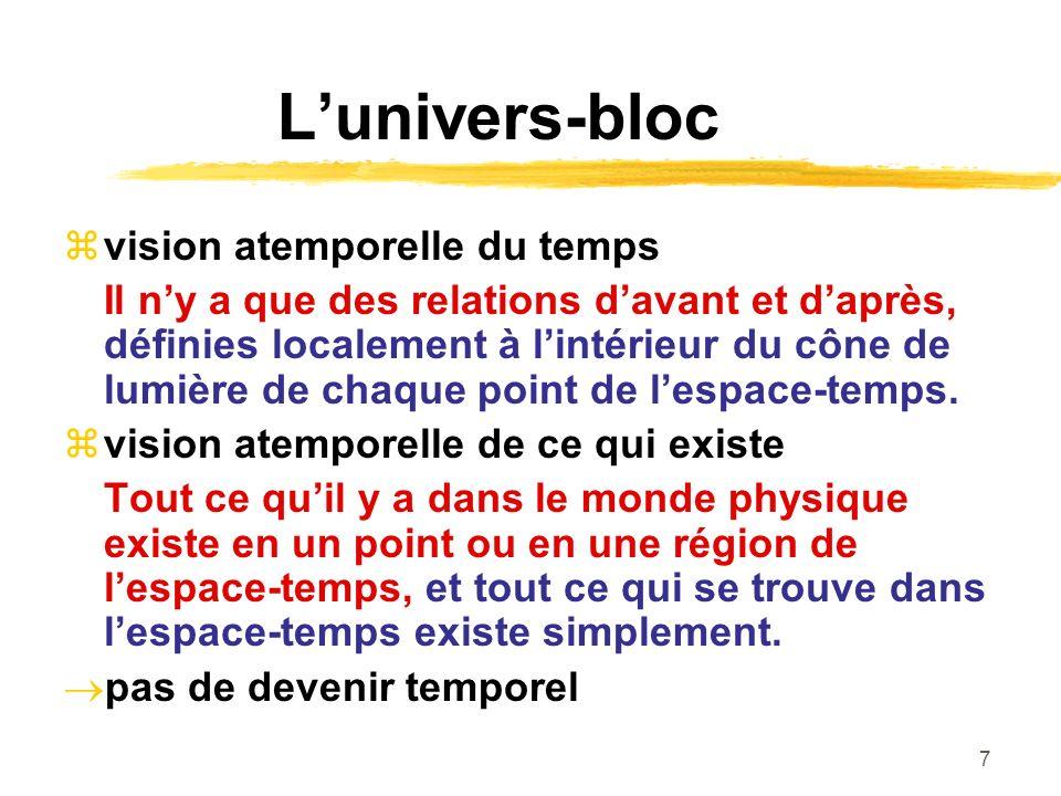 7 Lunivers-bloc vision atemporelle du temps Il ny a que des relations davant et daprès, définies localement à lintérieur du cône de lumière de chaque