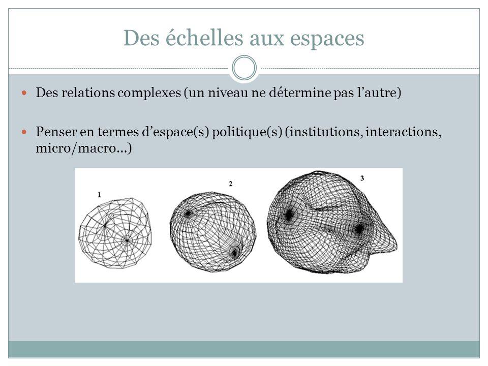Des échelles aux espaces Des relations complexes (un niveau ne détermine pas lautre) Penser en termes despace(s) politique(s) (institutions, interactions, micro/macro…)