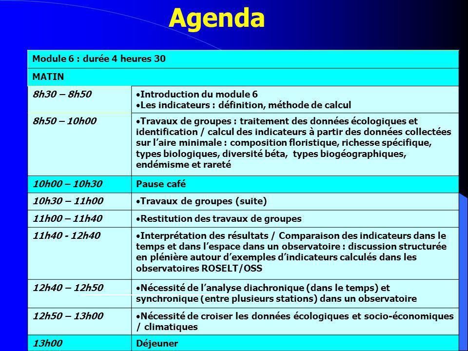 Agenda Module 6 (suite) : durée 3 heures 30 APRES MDII 14h30 – 14h50 Autres indicateurs issus des données écologiques : indices de diversité, densité des espèces pérennes, types biologiques et biogéographiques, endémisme et rareté 14h50 – 16h00 Travaux de groupes : traitement des données écologiques et identification / calcul des indicateurs : indice de shannon et équitabilité, indice de jaccard, % Type bio, % type biogéo, 16h00 – 16h30Pause café 16h30 – 17h00 Restitution des travaux de groupes 17h00 – 17h40 Interprétation des résultats / Comparaison des indicateurs dans le temps et dans lespace dans un observatoire : discussion structurée en plénière Quelles informations ces indicateurs apportent en plus .