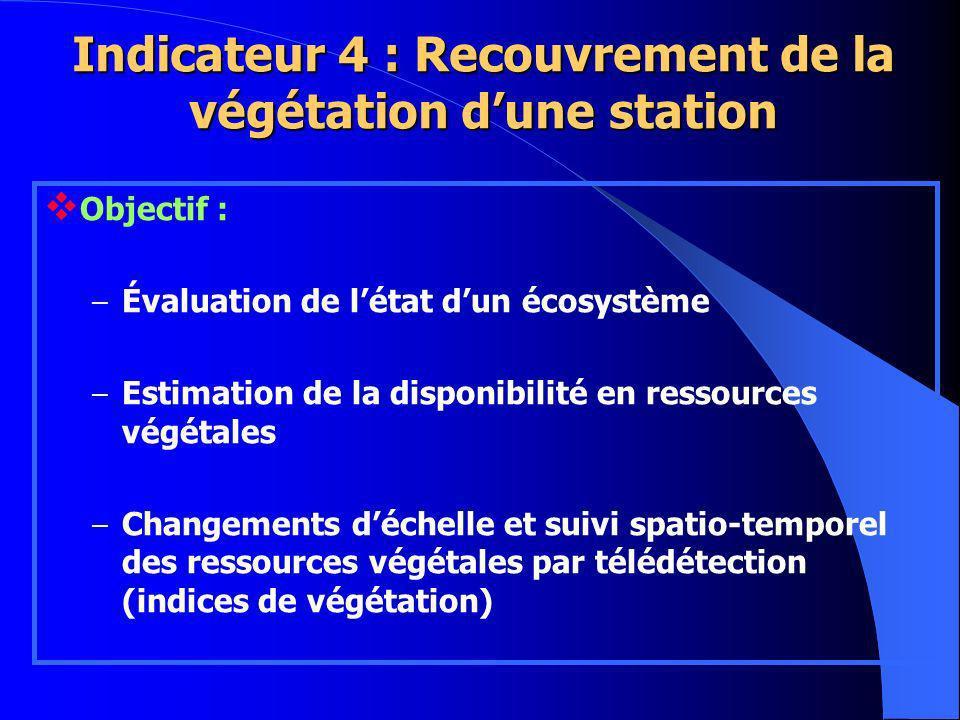 Objectif : – Évaluation de létat dun écosystème – Estimation de la disponibilité en ressources végétales – Changements déchelle et suivi spatio-temporel des ressources végétales par télédétection (indices de végétation) Indicateur 4 : Recouvrement de la végétation dune station