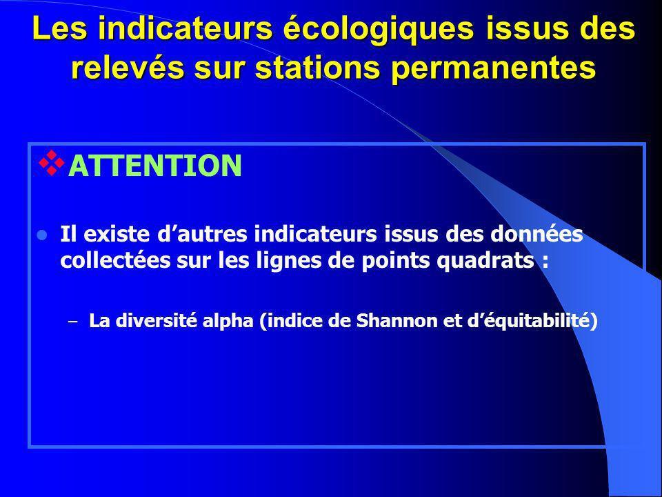 Les indicateurs écologiques issus des relevés sur stations permanentes ATTENTION Il existe dautres indicateurs issus des données collectées sur les lignes de points quadrats : – La diversité alpha (indice de Shannon et déquitabilité)