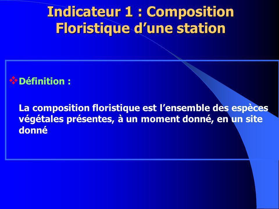 Indicateur 1 : Composition Floristique dune station Définition : La composition floristique est lensemble des espèces végétales présentes, à un moment donné, en un site donné