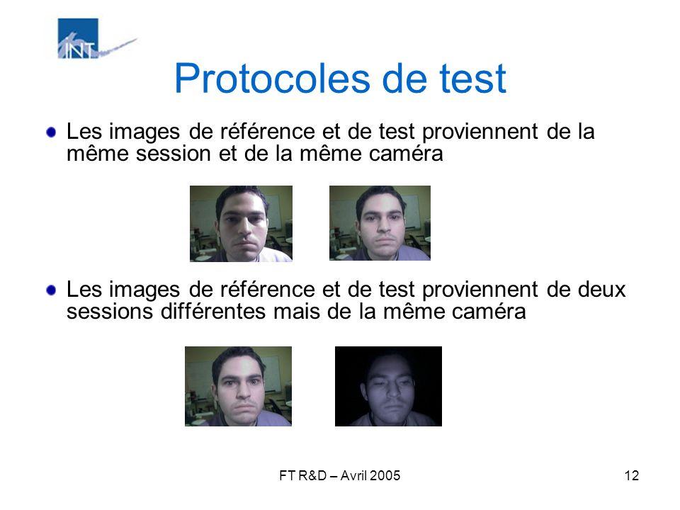 FT R&D – Avril 200512 Protocoles de test Les images de référence et de test proviennent de la même session et de la même caméra Les images de référenc