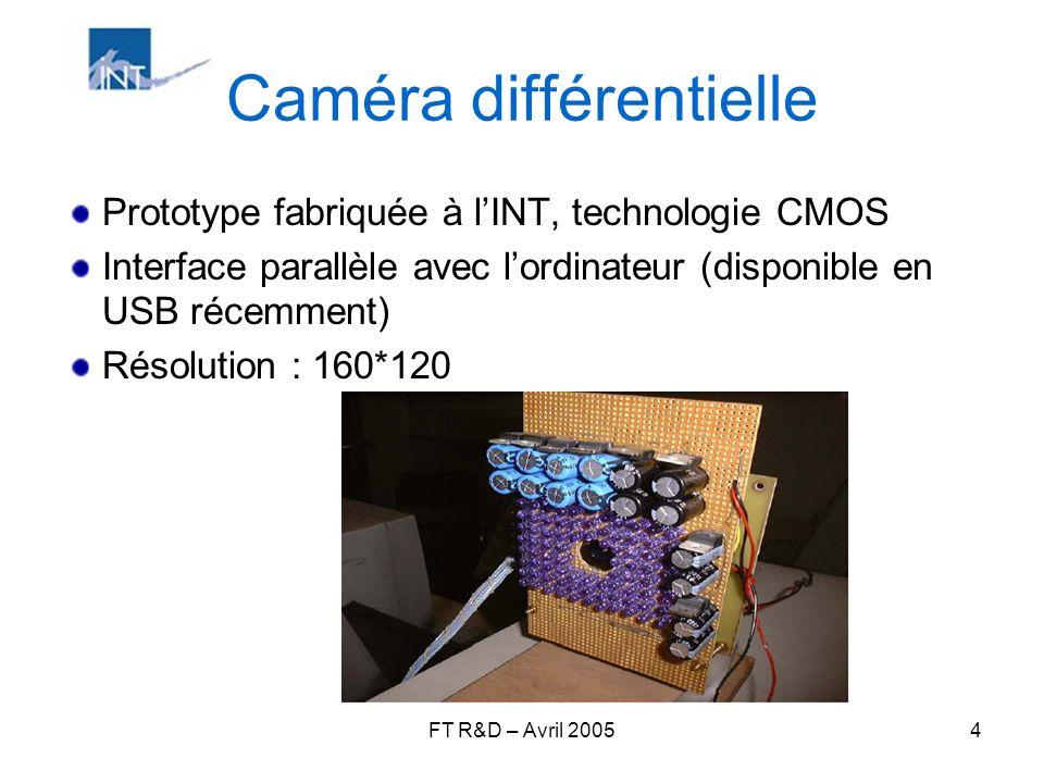 FT R&D – Avril 20054 Caméra différentielle Prototype fabriquée à lINT, technologie CMOS Interface parallèle avec lordinateur (disponible en USB récemm